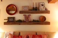 floating barnwood shelves by tidybrownwren.blogspot.com