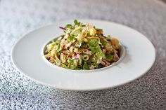 Chopped Classic Salad - chilled chicken breast, bacon, bleu cheese crumbles, romaine and iceberg lettuce, red onion, tomatoes, pasta, cucumber, low calorie zinfandel vinaigrette