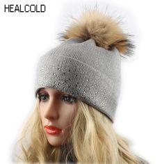 ab9c5143f0a Real Raccoon Fur Hat Ladies Warm Wool Knitted Bobble Ski Cap Women Winter  Fur Pom pom