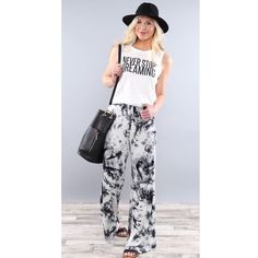 🎉HOST PICK 🎉 Tie Dyed Palazzo Lounge Pants These lounge pants are so adorable & on point. The tie dyed print is so cute paired with a fun statement tee. Spandex/rayon blend. Price firm unless bundled. Pants Wide Leg