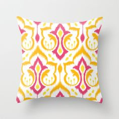 Ikat Damask - Berry Brights Throw Pillow by Patty Sloniger - $20.00