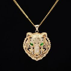 Iced Out Tiger Pendant Bridal Party Jewelry, Wedding Jewelry, Gold Pendant Necklace, Crystal Necklace, Necklace Types, Stones And Crystals, Jewelry Design, Jewelry Art, Jewelry Ideas