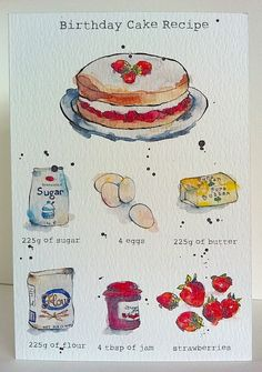Cake Drawing, Food Drawing, Watercolor Food, Watercolor Illustration, Arte Copic, Birthday Cake Illustration, Recipe Drawing, Arte Sketchbook, Birthday Cards