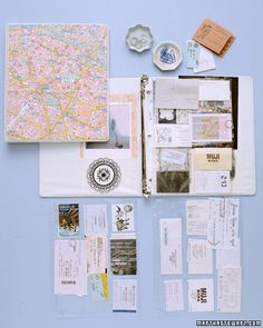 travel scrapbook: use plastic sleeves for baseball/business cards to hold souvenirs, ticket stubs, postcards, and maps