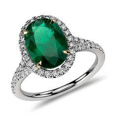 Blue Nile oval emerald and micropavé diamond ring in platinum Round Diamond Ring, Emerald Diamond, Diamond Stone, Halo Diamond, Round Diamonds, Emerald Cut, Emerald Green, Blue Sapphire, Blue Nile Jewelry