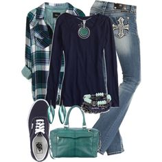 Turquoise and Navy, created by jennifernoriega on Polyvore