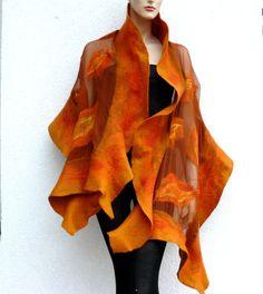 Nuno Felted shawl Wrap -  Wavy Ruffle scarf - Handmade silk and wool