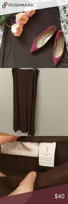 Chicos Brown Maxi Shirt Chico's brown maxi shirt. Only worn once and in perfect condition. It is a Chico's size 1, which is a conventional size 8. Chico's Skirts Maxi