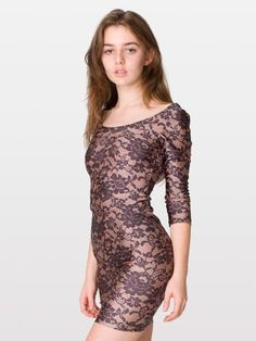 Lace Print Nylon Tricot 3/4 Sleeve Dress - Shiny Peach/Black Floral