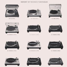 History of Technics Turntables. Nothing beats the sweet sound of vinyl! Dj Decks, Technics Turntables, Dj Setup, Dj Gear, Dj Booth, Vinyl Junkies, Record Players, Audio Equipment, Audiophile