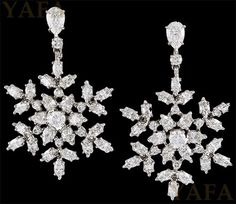 """""""18k white gold and platinum diamond snowflakes earrings, signed Harry Winston Metal Type: Two Tone Country of Origin: USA Year: Modern Signed by: Harry Winston Reference #:  E1496"""" (quote) via yafajewelry.com"""