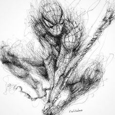 Spider-Man scribble by artist . by art_motive Spiderman Tattoo, Spiderman Art, Amazing Spiderman, Amazing Drawings, Amazing Art, Cartoon Drawings, Art Drawings, Scribble Art, Marvel Comics Art