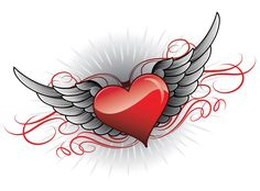 Heart Tattoo Designs - Heart Tattoo Designs You are in the right place about tattoo girl Here we offer you the most beauti - Heart With Wings Tattoo, Simple Heart Tattoos, Sacred Heart Tattoos, Love Tattoos, Body Art Tattoos, Wing Tattoos On Back, Wing Tattoo Designs, Tattoo Design Drawings, Art Drawings