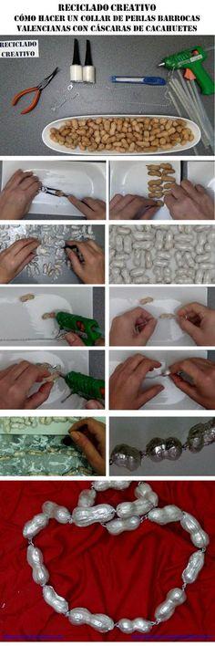 DIY para San Valentín, un collar de perlas reciclando cáscaras de cacahuetes | Aprender manualidades es facilisimo.com