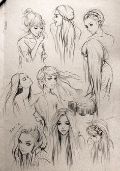 hair ✤ || CHARACTER DESIGN REFERENCES | Find more at https://www.facebook.com/CharacterDesignReferences if you're looking for: #line #art #character #design #model #sheet #illustration #expressions #best #concept #animation #drawing #archive #library #reference #anatomy #traditional #draw #development #artist #pose #settei #gestures #how #to #tutorial #conceptart #modelsheet #cartoon #hair