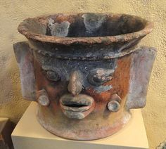 File:Incense Burner with Face and Side Flanges, Classic Mayan, highland Guatemala - San Diego Museum of Man -
