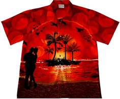 "Hawaiihemd / Hawaii Hemd ""Romantic Evening"" / Original Designed von Hawaiihemdshop.de / 100% Baumwolle / Knöpfe aus Kokosnuss"