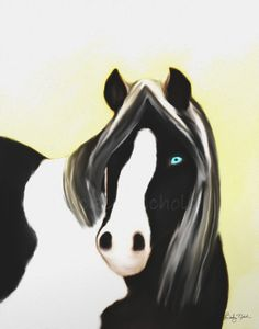 Black and White Paint Horse Painting Whimsical