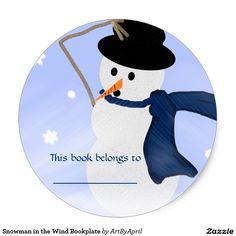 Snowman in the Wind Bookplate Classic Round Sticker