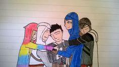 assassins creed OCs, Altair, Malik, and Arno drawing