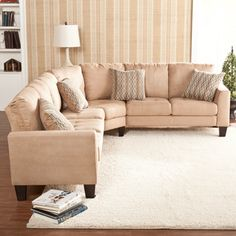 Ascot Three Piece Mocha Sectional Sofa/ Loveseat/ Wedge - This Ascot mocha sectional sofa features a luscious mocha microfiber fabric and easy to assemble, no tools required design. This outstanding sectional set features sofa, loveseat, wedge and beautiful toss pillows serving as accent pieces.