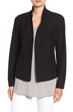 NWT Eileen Fisher Black Signature Washable Crepe Long Open Jacket $328  S