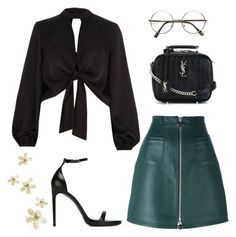 """""""💱"""" by martsola ❤ liked on Polyvore featuring Carven, Yves Saint Laurent, River Island, black and GREEN"""