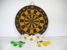 Vintage Two Sided Wooden Dart Board Complete with by DivineOrders