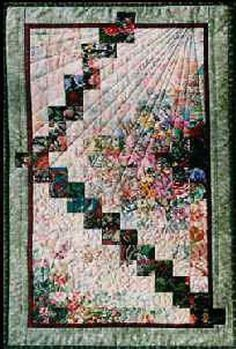 """""""Stairway"""" Watercolor Quilt Kit – Quilting Books Patterns and Notions Strip Quilts, Easy Quilts, Ribbon Quilt, Traditional Quilt Patterns, Watercolor Fabric, Laundry Basket Quilts, Homemade Quilts, Quilt Border, Easy Quilt Patterns"""