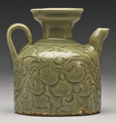 A Rare 'Yaozhou' Celadon Carved Ewer, Northern Song Dynasty - Alain. Fine Porcelain, Porcelain Ceramics, Porcelain Tile, Pablo Picasso, Celadon, Chinese Ceramics, Pottery Designs, Ancient China, Japanese Pottery