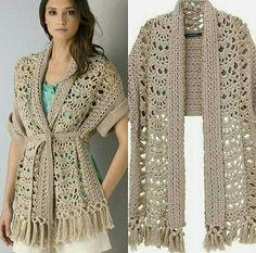 57 Ideas For Crochet Pillow Vintage Yarns Cardigan Au Crochet, Gilet Crochet, Crochet Coat, Crochet Jacket, Crochet Pillow, Crochet Cardigan, Crochet Scarves, Easy Crochet, Crochet Stitches