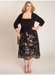 Plus Size Beaded Dress Plus Size Fashion Plus Size Clothing at www.curvaliciousclothes.com Sizes 12-32 The Ekanta Beaded Dress's more modest sister, the Keira Beaded Dress offers a 3/4 sleeve along with its lavishly beaded tulle skirt that hits just below the knees. Slip on gold or black strappy heels a statement necklace, and small clutch for any black tie event.
