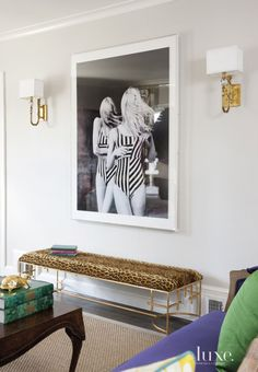 Brass Sconces Brass sconces from Mary McDonald's collection for Robert Abbey flank a stately black-and-white photograph by Polish photographer Sonia Szóstak above a daring Ralph Lauren upholstered bench from Worlds Away. Le Living, Living Spaces, Casa Da Kris Jenner, Mary Mcdonald, Sconces Living Room, Brass Sconce, Antique Interior, Upholstered Bench, High Fashion Home