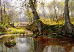 Peder Mork Monsted Paintings-A Tranquil Pond