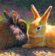 "Daily Paintworks - ""Chocolate or Vanilla?"" - Original Fine Art for Sale - © Rita Kirkman. This artist works in pastels.  Many rabbit paintings, also chickens and other farm animals, landscapes & portraits."
