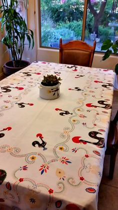 Portuguese Lucky Rooster Vintage Tablecloth by TashasVintageAndArt