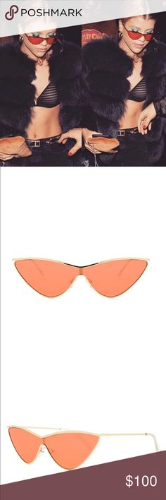 ADAM SELMAN x LE SPECS - THE FUGITIVE NWOT - NEVER WORN Bright Gold & Tangerine Tint Adam Selman by Le Specs case Model: LAS1702120  The Fugitive is and ode to the criminal illicit under-cover glamour of it all. This minimal fine metal cats eye features a sleek shield lens. As seen on Gigi Hadid & Sofia Richie.  SIZING Lens Width - Nose Bridge - Temple Length 143-17-145 Adam Selman x Le Specs Accessories Sunglasses