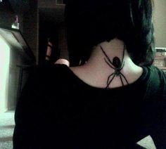 Black Widow Spider, Neck Tattoo