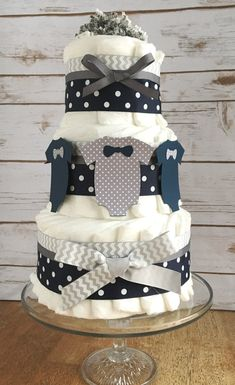 Little Man  Baby Diaper Cake in Navy Blue