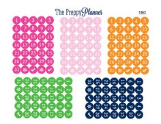 Mini Numbered Dots Planner Stickers for by ThePreppyPlanner