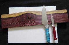"Amazing Kingwood Natural Edge magnetic knife holder, 20"" Rosewood magnetic knife rack, inc mounting hardware handmade"