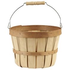 This bushel basket with a metal swing handle is a must-have accent for your home décor projects. Its lightweight construction also makes it perfect for extra storage around the house.
