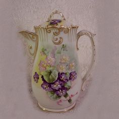 Vintage 1920s Limoges Chocolate Pot Hand Painted Violets