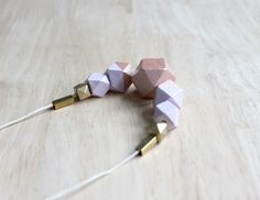 wooden geometric necklace pastel // lilac copper dipped necklace for girls, women - modern minimalist everyday jewelry on Etsy, $24.97