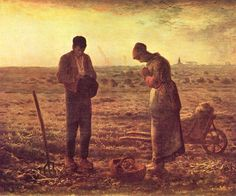 French peasants at prayer during the Angelus by Millet. From blog on Catholic France ... http://corjesusacratissimum.org/2013/10/holy-france-and-catholic-europe/