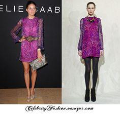 Olivia Palermo Purple Dress Leopard Belt