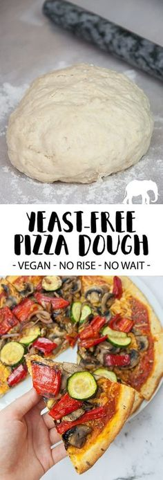 Recipe for a yeast-free vegan Pizza Dough from scratch made out of only 5 simple ingredients! No yeast = no wait time = spontaneous pizza! | ElephantasticVegan.com
