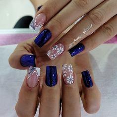 Nails Design With Rhinestones, Nail Art Designs, Nailart, Sweet, Beauty, Elegant Nails, Glitter Makeup, Pretty Nails, Polish Nails