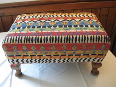 Anne French Fabric Re-upholstered Stool