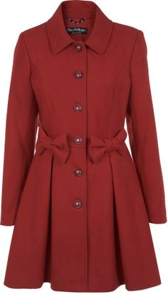 Miss Selfridge Red bow coat on shopstyle.co.uk